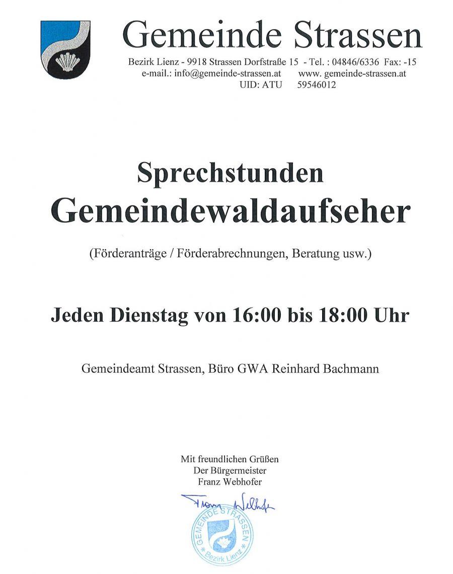Sprechstunden Gemeindewaldaufseher